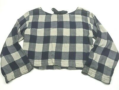$ CDN38.14 • Buy Anthropologie Small Top Cloth And Stone Plaid Shirt Blue Beige Tie Back Blouse