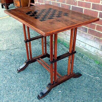 Victorian Antique Arts & Crafts Rosewood Ebony Marquetry Games Chess Side Table • 225£