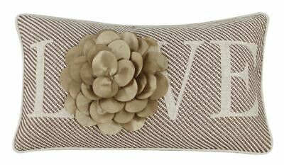 Mocha And Gold Love Flower Cushion Embroidered 3D B-9 • 6.57£