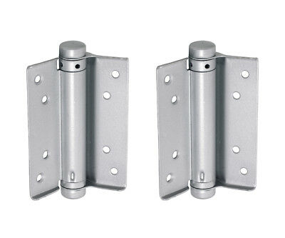 1 Pair Single Action Spring Hinges - Self Closing Adjustable Door Hinge - Silver • 9.99£