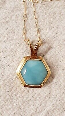 Lovely Vintage 14ct Yellow Gold Larimar Pendant & 9ct Gold Trace Chain 19  1.6g  • 45£