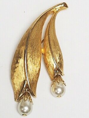 $10 • Buy Vintage Signed EMMONS Brushed Gold Tone & Faux Pearl Dangle FLOWER Pin Brooch
