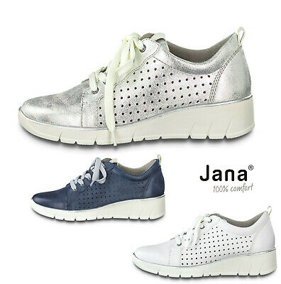 Ladies Lace Up Shoes Jana Leather Wide Fit Shoes Comfort Wedge Heel White Denim • 45£