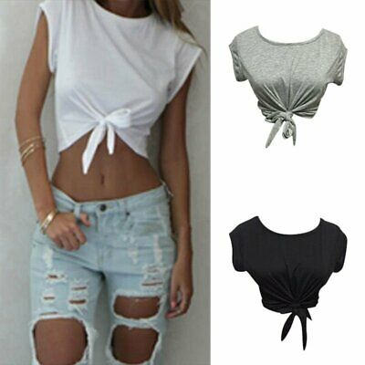 Women Summer Tops Knotted Tie Front Crop Tops Cropped T Shirt Casual Blouse • 6.99£