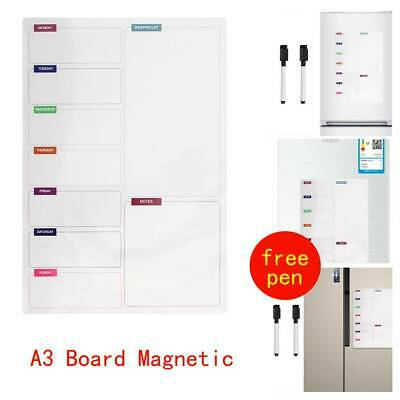 Fridge Notice A3 Board Magnetic Memo Weekly Family Meal Planner Whiteboard UK • 6.45£