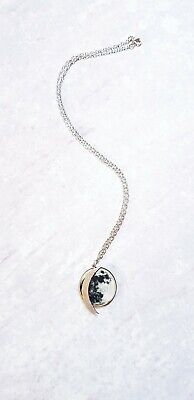 Silver Moon Necklace - Wooden Laser Cut Full And Crescent Moon Necklace  • 5.37£