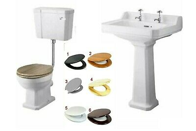 Traditional Victorian Low Level Pan Lever Cistern Seat Basin Pedestal Suit P-tra • 399£