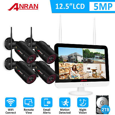 ANRAN 5.0MP WIFI Security Camera System Wireless Outdoor 4CH 12 Monitor 2TB 1TB • 197.95£