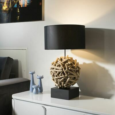 £369 • Buy Beautiful Unique Modern Driftwood Table Lamp Light Black Shade Siam