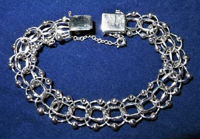 $80.99 • Buy American Sterling Silver Bracelet, Fancy Foxtail Link With Chain Guard