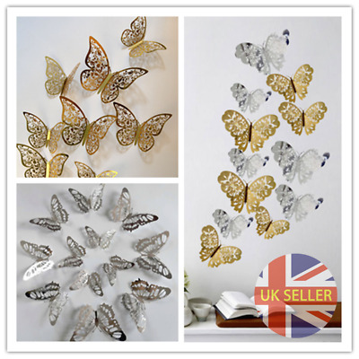 £2.49 • Buy 12PCs Hollow Butterfly 3D Wall Stickers Decors Wall Art Wall Home Decorations UK