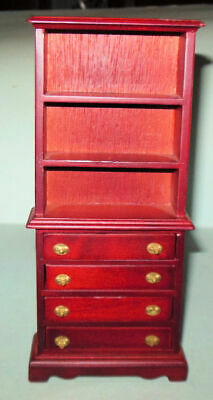 $25 • Buy Michelle Deluxe Bookcase Mahogany Vintage #1245 Dollhouse Furniture