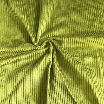 £1.99 • Buy WASHED Jumbo Cord 4.5 Wale Cotton Velvet Fabric Material LIME GREEN