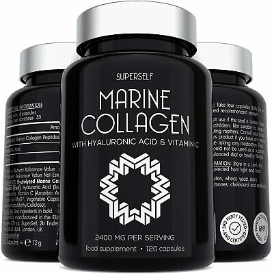 £21.78 • Buy Marine Collagen Supplement 2400mg - 120 Tablets With Hyaluronic Acid & Vitamin C