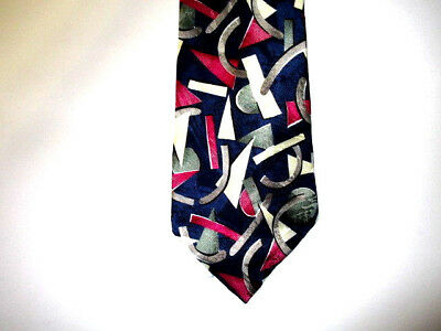 $12 • Buy J T Beckett Silk Tie - Fuschia Green Gray Cream Black Blue Triangle Circle