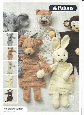 Patons - 5 Flat Toys Crochet Pattern 05365 - DK - Marked As Free Pattern • 0.99£