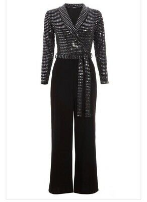 Quiz Silver Long Sleeve Belted Jumpsuit. Size-14 • 13.02£