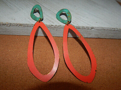 $ CDN106.47 • Buy Earrings Anthropologie Statement Sibilia Distressed Teal Red Long Dangle $128