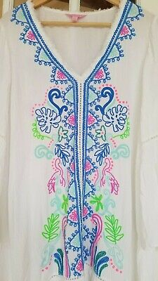 $55 • Buy Lilly Pulitzer Tunic Cover Up Resort White Embroidery Medium  27073