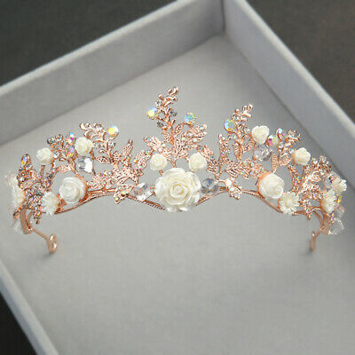 AU17.78 • Buy 5cm High AB Crystal Flower Rose Gold Wedding Party Pageant Prom Tiara Crown