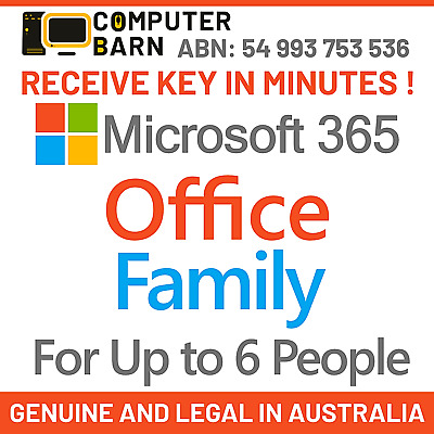 AU116.95 • Buy Latest Microsoft Office 365 Family/Home 6 Users Multi-Device. Get Key In Minutes