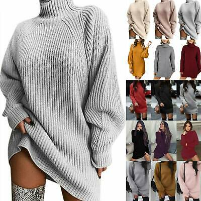 AU29.39 • Buy Womens High Roll Polo Neck Sweater Dress Winter Knitted Pullover Jumper Oversize