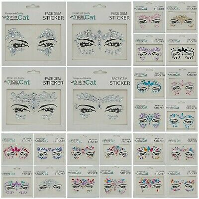 Face Gems Adhesive Glitter Jewel Sticker Tattoo Festival Rave Party Body Make Up • 1.89£