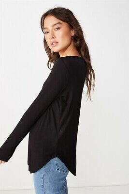 AU13.97 • Buy Cotton On Womens Karly Long Sleeve Top L/S Tops  In  Black