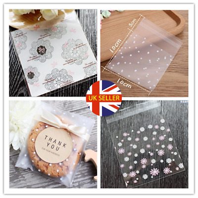 £3.19 • Buy 100Pcs Self Adhesive Plastic Cookie Bag Candy Gift Packaging Birthday Bags Valen