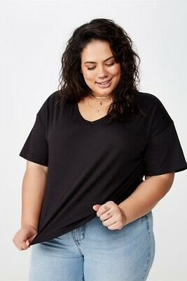 AU5 • Buy Cotton On Womens Curve Relaxed V Neck Tee Curve  In  Black