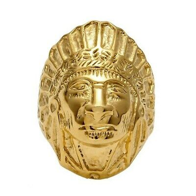 £25.99 • Buy BA0267 Signet Ring Man Indian Head Stainless Steel Gold Golden Plated Massive He