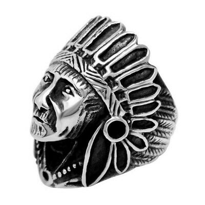 £23.99 • Buy BA0325 Signet Ring Man Indian Head Traveller 316L Stainless Steel Silver
