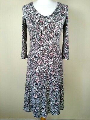 Brora Dress Size 12 Brown Red Floral Scoop Neck Jersey 3/4 Sleeve Tea 1940s • 25.95£