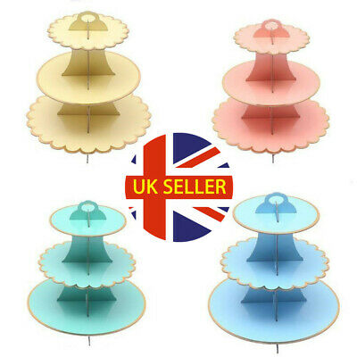 £6.99 • Buy NEW 3 Tier Cupcake Stand Muffin Holder Cardboard Cake Rack Princess Tea Party