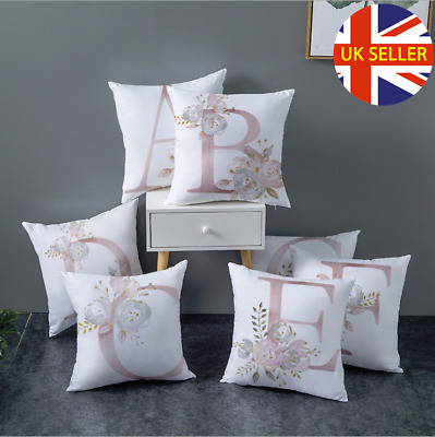 New A-Z LETTER POLYESTER CUSHION COVER PILLOW CASE WAIST THROW HOME SOFA DECOR • 2.99£