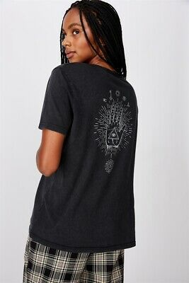 AU13.97 • Buy Factorie Womens Relaxed Graphic T Shirt Short Sleeve Tops  In  Black