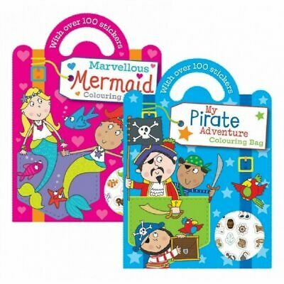 £2.99 • Buy Squiggle Childrens Art Colouring Books Mermaid Pirates 100+ Stickers Carry Along