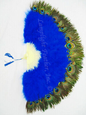 £15.82 • Buy New Royal Blue Marabou Peacock 29  Open Feather Fan Wedding Cosplay Costume
