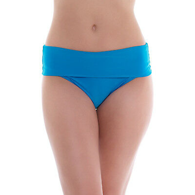High Waisted Bikini Brief Pacific Blue XL 16 Fold Top Swimwear Bottom Saress New • 5.89£