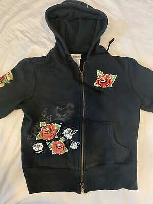 Original Walt Disney Womens Ed Hardy Style Mickey Mouse Hoodie Size Youth Medium • 10.72£