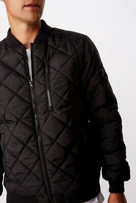 View Details Cotton On Mens Quilted Bomber Jacket Jackets  In  Black • 39.99AU