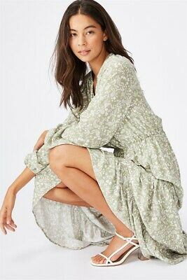 AU24.98 • Buy Cotton On Womens Woven Michelle Long Sleeve Maxi Dress  In  Multicoloured