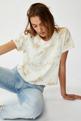 AU5 • Buy Cotton On Womens Chopped Pocket Tie Dye Tshirt S/S Tops  In  Brown