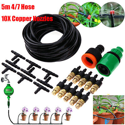 5M Micro Drip Irrigation Watering Automatic Garden Plant Greenhouse System UK • 9.71£