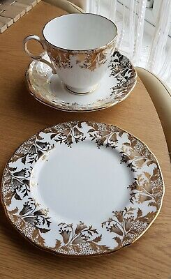 Regal Fine Bone China Cup, Saucer & Side Plate Set Bluebells / Snowdrops Gilding • 9.99£