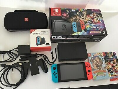 $435 • Buy Nintendo Switch Mario Kart 8 Bundle With 5 Games And Extras Mint Condition