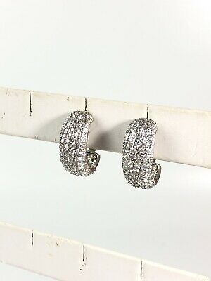 $9.74 • Buy Charles Winston Sterling Silver 925 White Pave CZ Earrings (Missing 1 Stone)