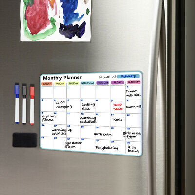 AU19.95 • Buy Monthly Planner Fridge Calendar Magnetic Whiteboard With 3 Markers  & An Eraser