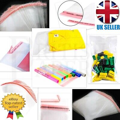 Clear Self Adhesive Seal Cellophane Plastic Bags Wrap Garment Small Large Sweets • 1.85£