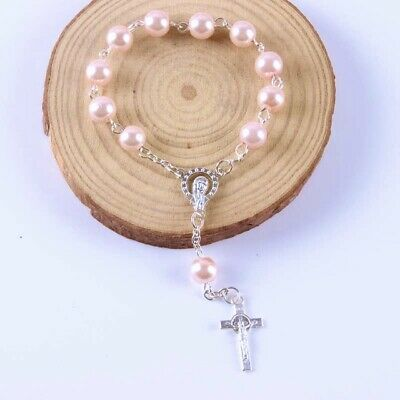 Mini Decade Pearl Finger Rosary Beads Christening Communion Wedding Favours Baby • 3.95£